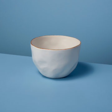 Tan Rim Stoneware Bowl Medium