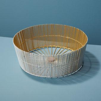 Gold Rim Stoneware Tumbler, White