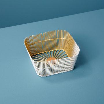 White & Gold Wire Square Basket