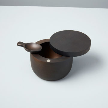Ebony Teak Cellar with Spoon and Pivoting Lid