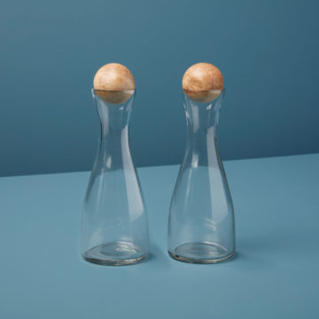 Glass & Mango Wood Cruet, Set of 2