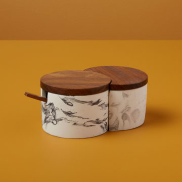 Marbled Cement Interlocking Cellar Set with Wood Lid and Spoon, Black/Gray