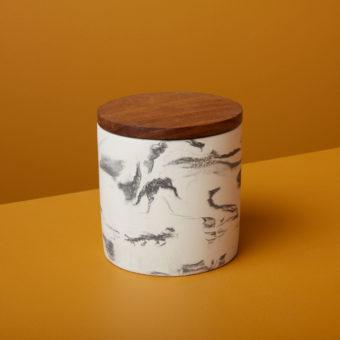 Glass & Mango Wood Decanter, Short