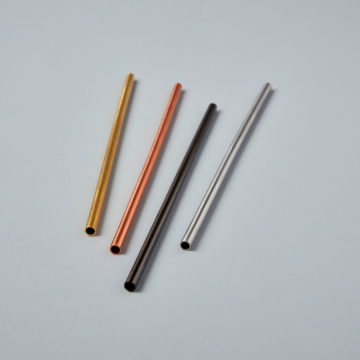 Matte Metallic Stainless Straws Set of 4 Assorted Colors in gift box