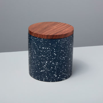Speckled Cement Container with Wood Lid, Midnight
