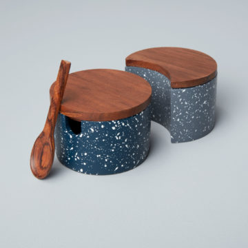 Speckled Cement Interlocking Cellar Set with Wood Lid and Spoon, Midnight/Slate