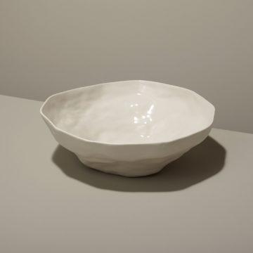 Stoneware Bowl, White, Large