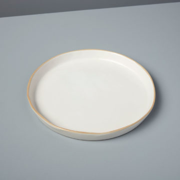 Tan Rim Stoneware Plate, Medium