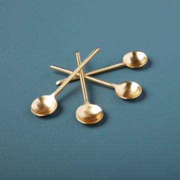 Gold Thin Mini Spoons, Set of 4