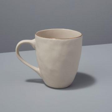 Gold Rim Stoneware Mug, White