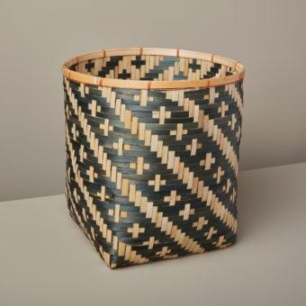 Diamond Weave Bamboo Basket Large, Blue
