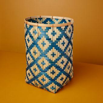 Diagonal Stripe Bamboo Basket, Black, Large