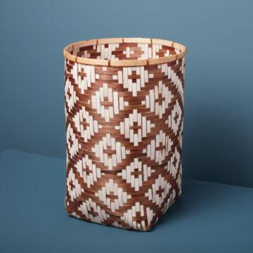 Diamond Weave Bamboo Basket, Tan, Large