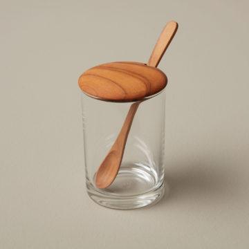 Glass Mini Cellar with Teak Lid & Spoon, Tall