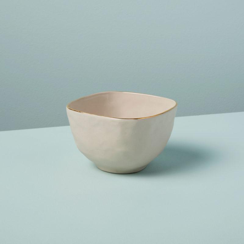 Gold Rim Stoneware Snack Bowl, White