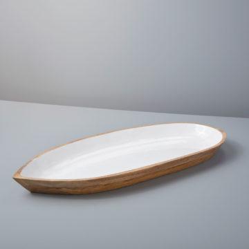 Mango Wood & White Enamel Oval Dish, XL