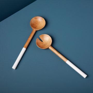 Mango Wood & White Enamel Classic Serving Set