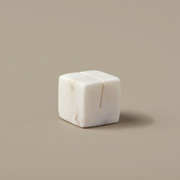 White Marble Cube Placecard Holder
