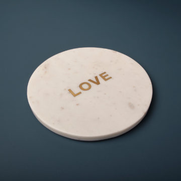 """White Marble & Gold """"Love"""" Board"""