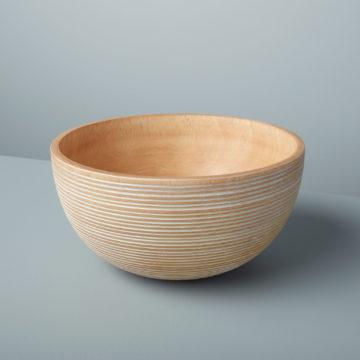 White Striped Kiln Mango Wood Bowl Large