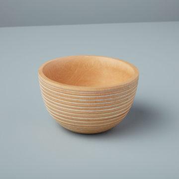 White Striped Kiln Mango Wood Bowl Medium