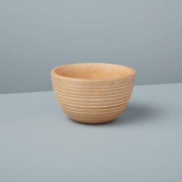 White Striped Kiln Mango Wood Bowl Small