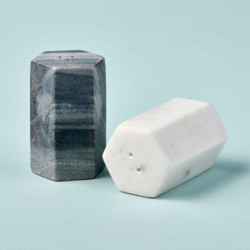 White & Gray Marble Salt & Pepper Set