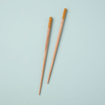 Carved Resin & Wood Chopsticks, Mustard