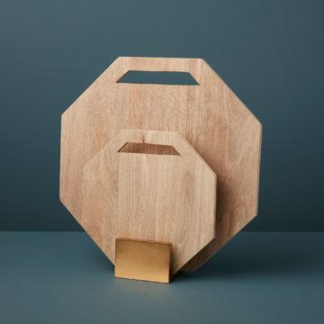 Raw Natural Mango Wood Hexagon Boards with Gold Stand