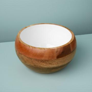 Mango Wood & White Enamel Round Bowl, Large