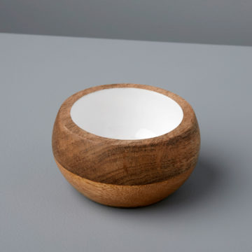 Mango Wood & White Enamel Round Bowl, Small