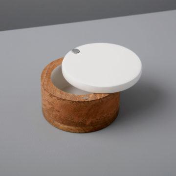 Mango Wood & White Enamel Spice Cellar