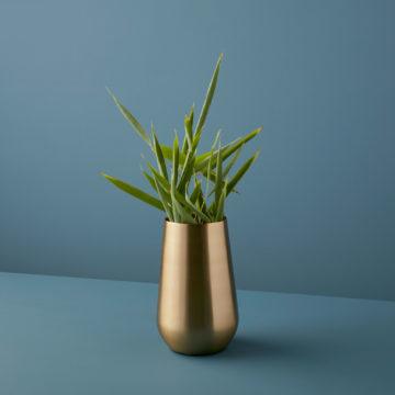 Satin Gold Sloped Vase, Large