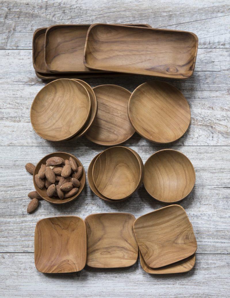 Teak Round Bowls Set of 4