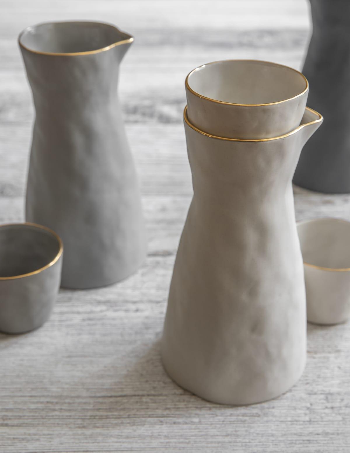 Gold Rim Stoneware Carafe White, Small 4