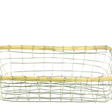 Stainless Wire and Cane Rectangular Basket
