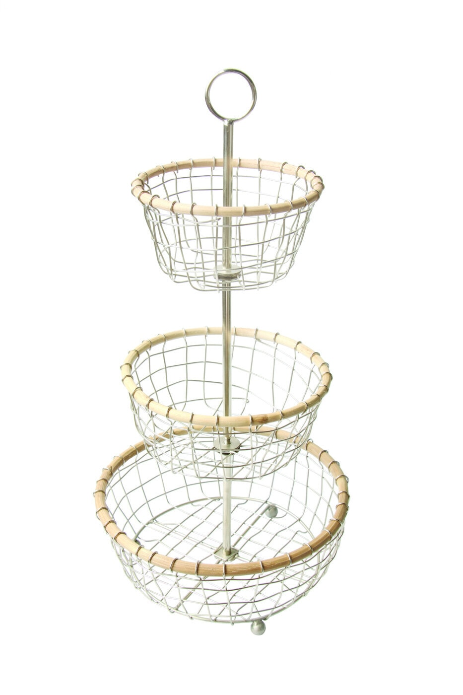 Stainless Wire and Cane Three Tier Basket