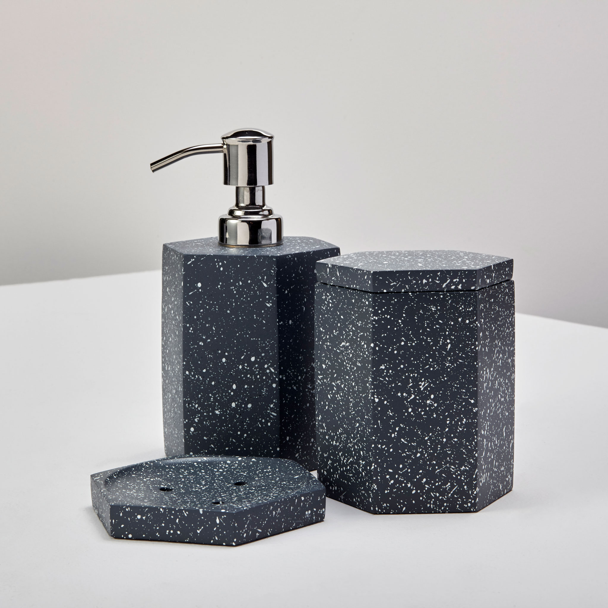 Speckled Cement Soap Dish, Slate 2