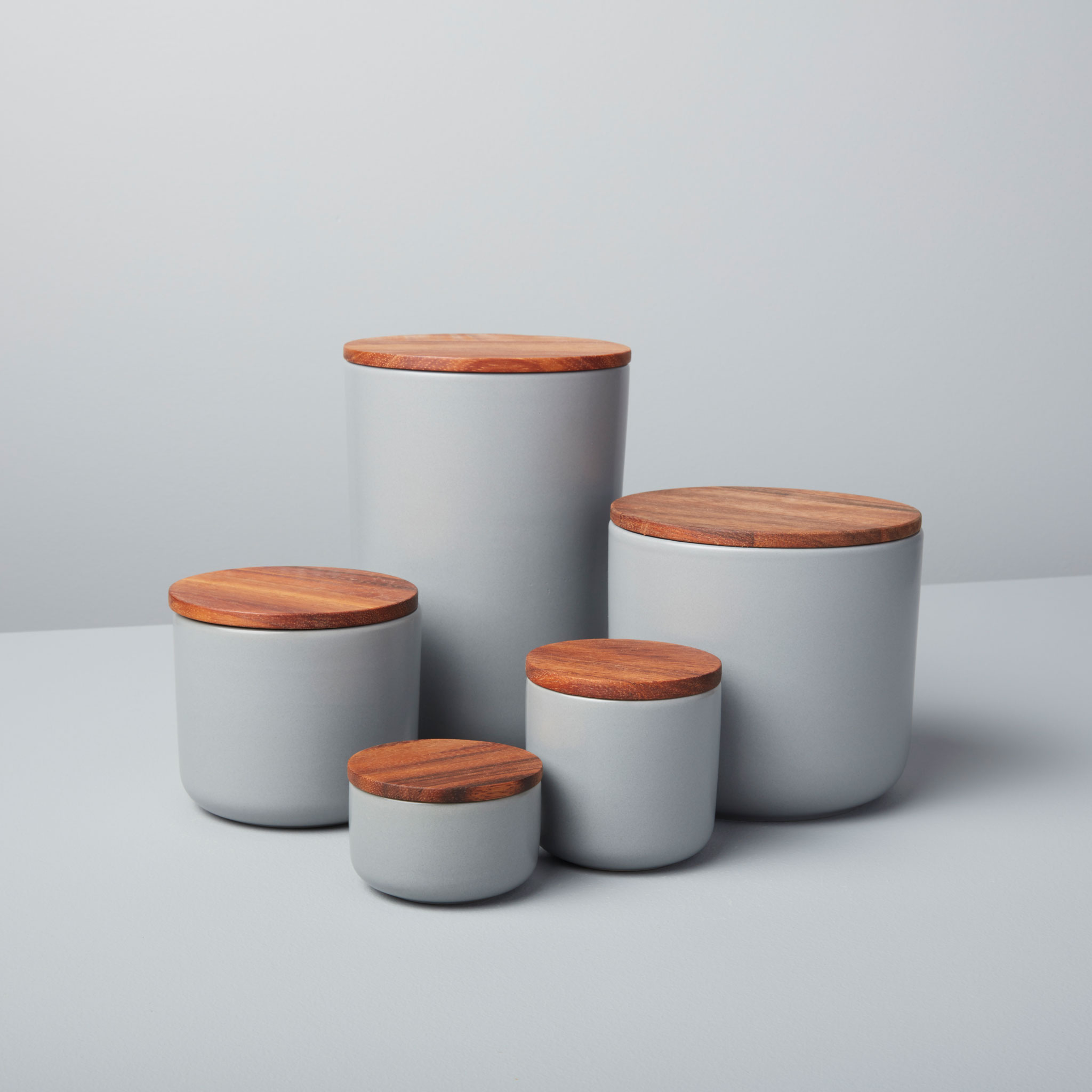 Stoneware Container with Acacia Lid, Storm, Extra Large