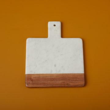 White Marble & Acacia Wood Square Handled Board