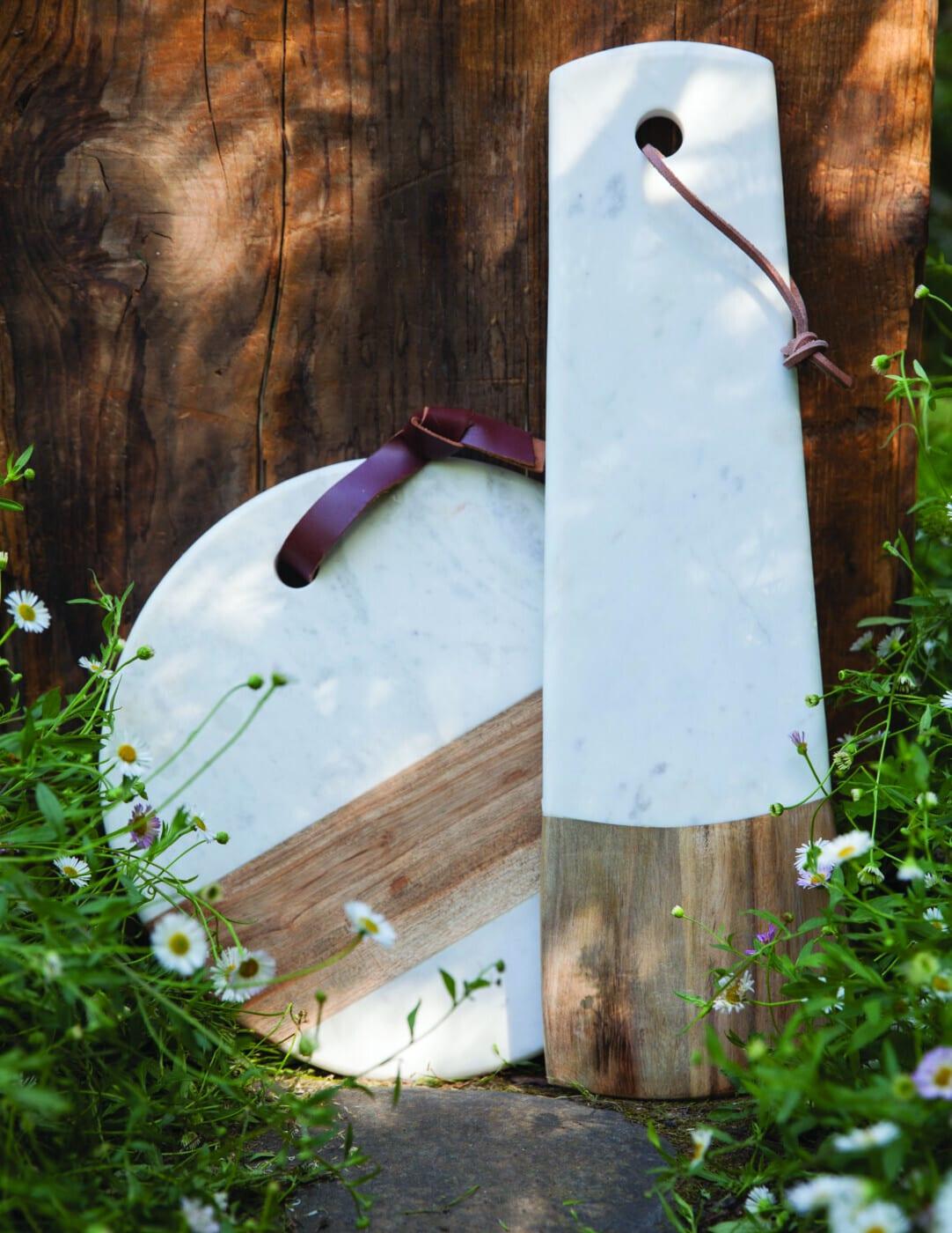 White Marble & Wood Long Rectangular Board 2