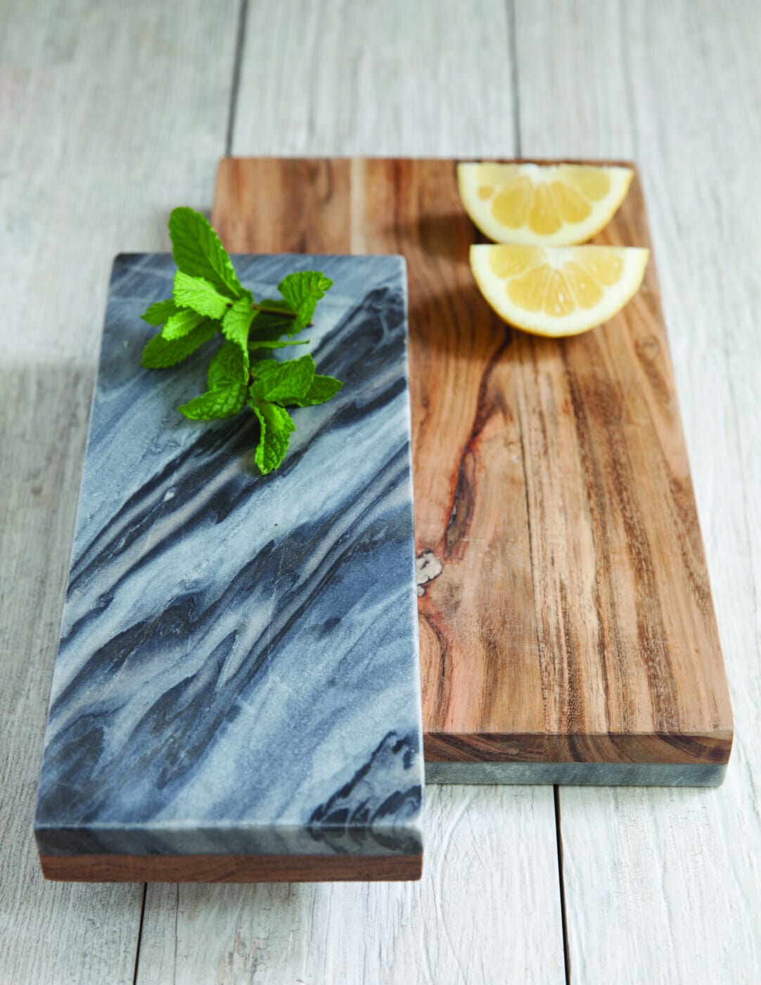 Gray Marble & Wood Reversible Board, Small 3