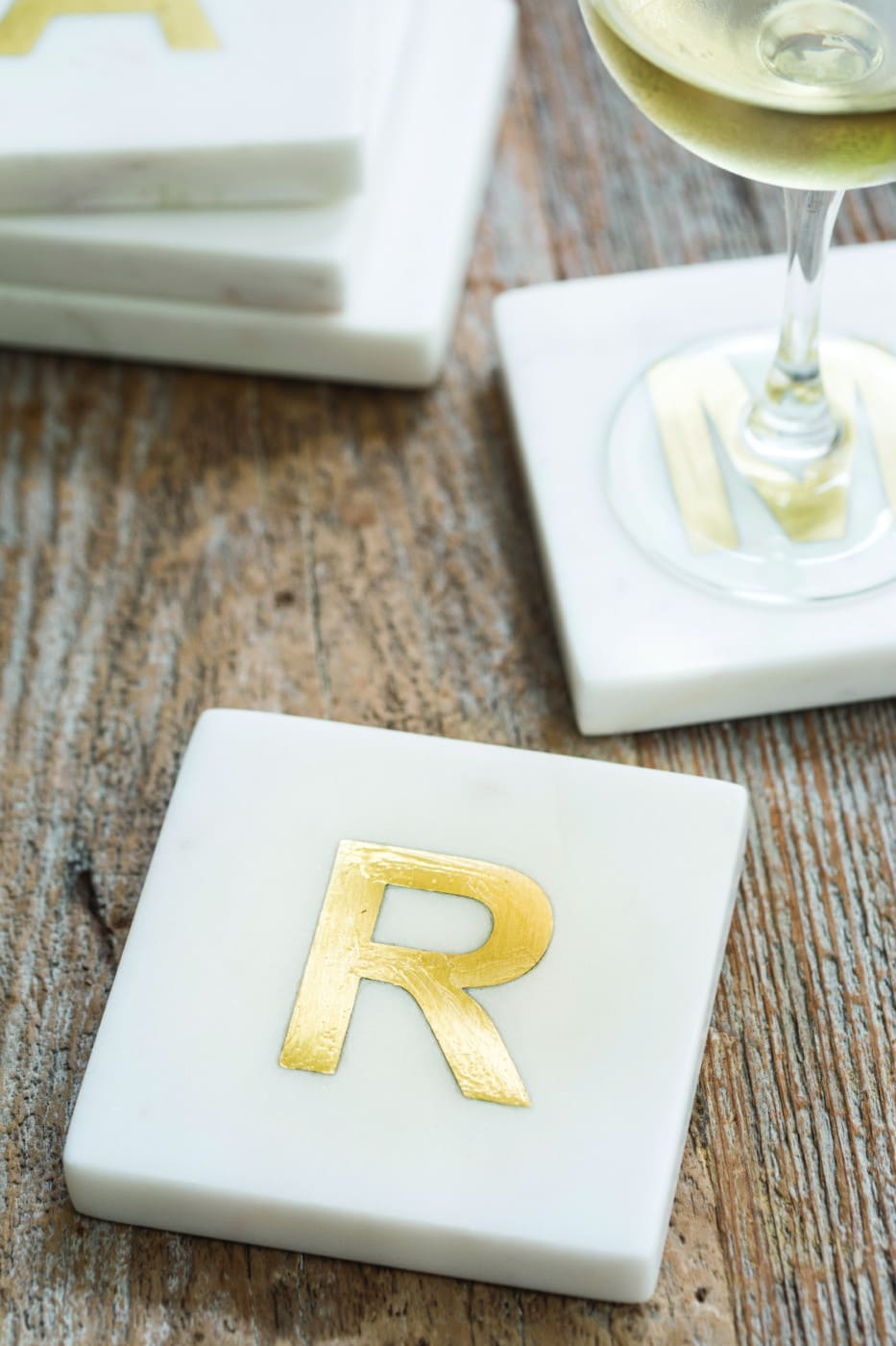 White Marble with Gold Monogram Coasters, S/4 Letter T 3