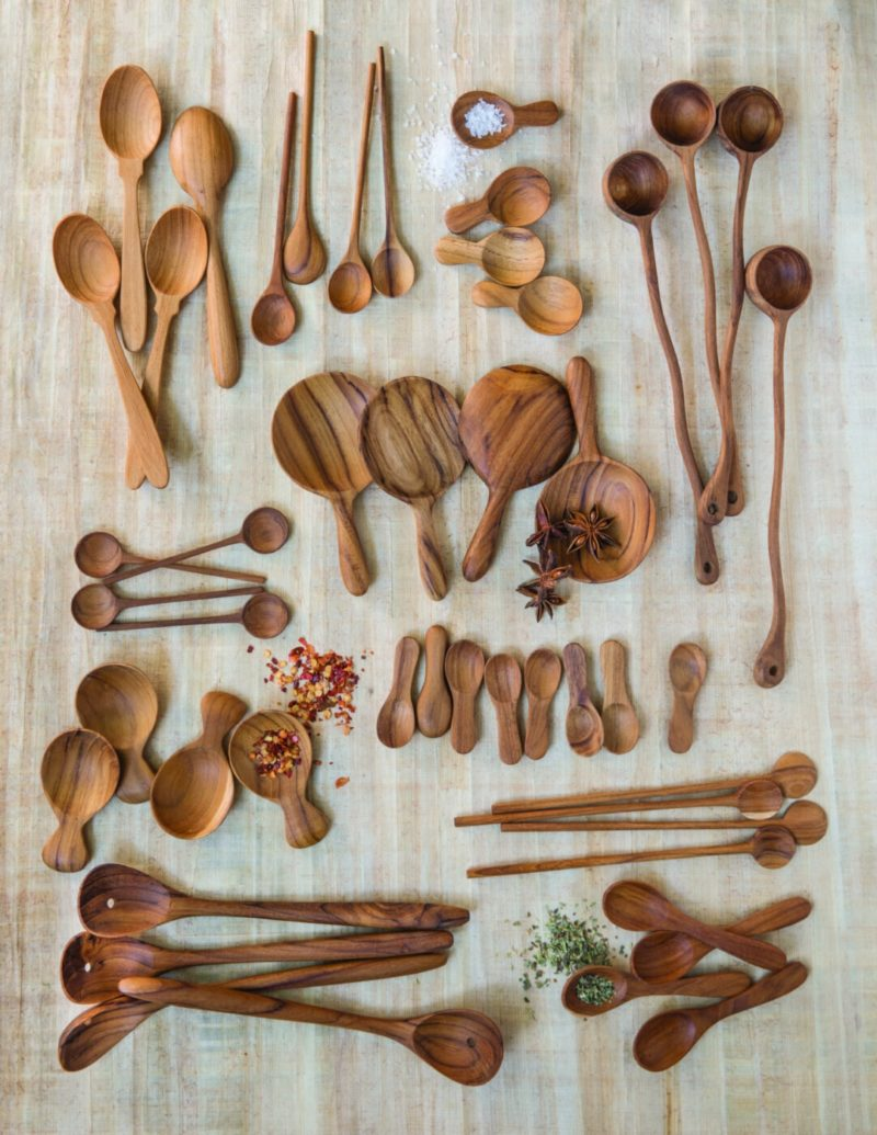 Teak Thin Spoons, Medium Set of 4