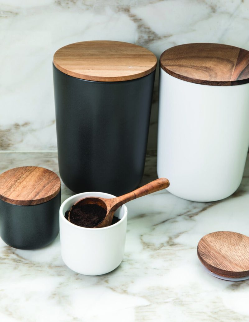 Stoneware Container with Acacia Lid Extra Large Black