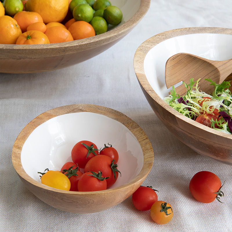 Mango Wood & Enamel Round Bowl, Mini