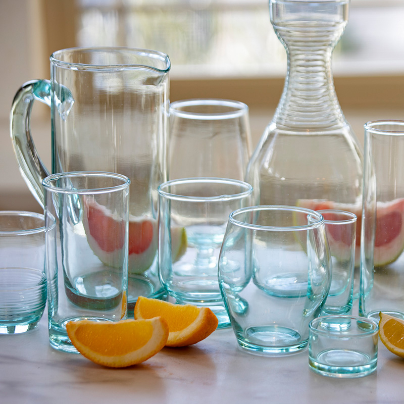 Recycled Glass Ripple Glass & Carafe Set, Tall
