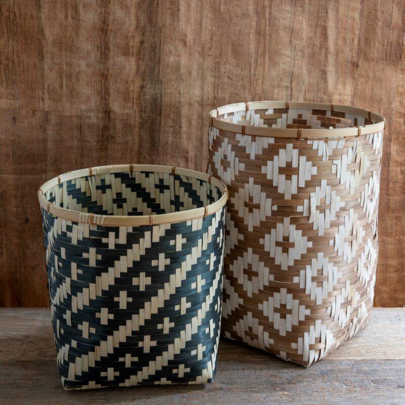 Diamond Weave Bamboo Basket, Tan, Small