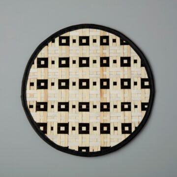 Black Woven Bamboo Placemat, Checker