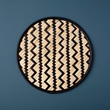 Black Woven Bamboo Placemat, Chevron & Lines